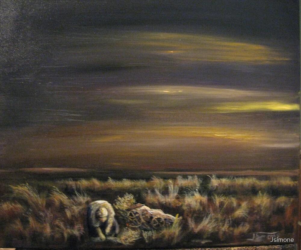 Woman Working in the Field at Dawn, Nebraska, 1927 by Jsimone