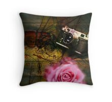 Unique vintage camera, clock and flower Throw Pillow