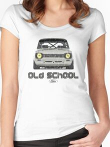 Classic Ford Escort MK1 Old School Distressed T-Shirt Women's Fitted Scoop T-Shirt