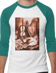 MUSICAL CAT AND OWL  Brown Sepia White Men's Baseball ¾ T-Shirt