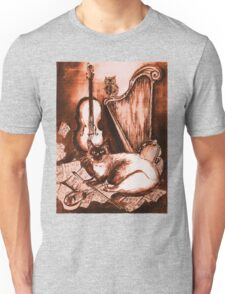 MUSICAL CAT AND OWL  Brown Sepia White Unisex T-Shirt