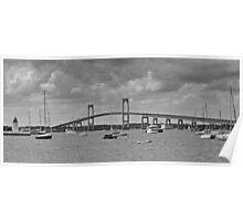 Newport Bay Bridge and Light at Goat Island  Poster