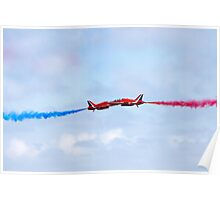 Red Arrows aerobatic display team close pass Poster