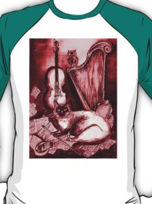 MUSICAL CAT AND OWL  Red White T-Shirt