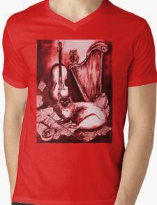 MUSICAL CAT AND OWL  Red White Mens V-Neck T-Shirt