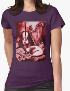 MUSICAL CAT AND OWL  Red White Womens Fitted T-Shirt