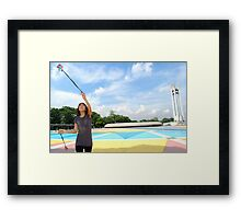 Quezon Memorial Circle activity: practicing fake fire dancing 17 Framed Print