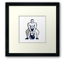Athlete Weightlifter Lifting Kettlebell Retro Framed Print