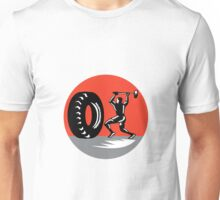 Tire Sledgehammer Workout Woodcut Unisex T-Shirt