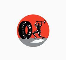 Tire Sledgehammer Workout Woodcut Unisex T-Shirt