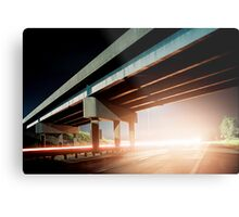 Car gliding under the highway Metal Print
