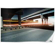 Truck passing under the highway Poster