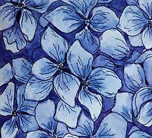 blue watercolor hydrangea pattern by nostiya