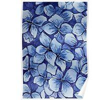 blue watercolor hydrangea pattern Poster