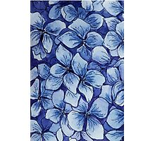 blue watercolor hydrangea pattern Photographic Print