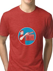 Film Crew Clapperboard Circle Retro Tri-blend T-Shirt