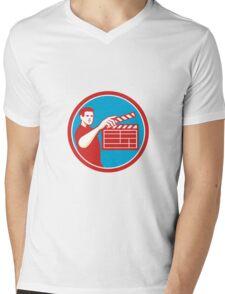 Film Crew Clapperboard Circle Retro Mens V-Neck T-Shirt