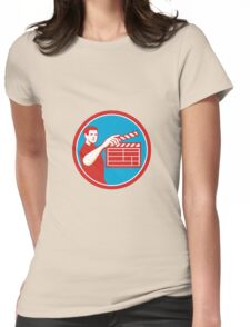 Film Crew Clapperboard Circle Retro Womens Fitted T-Shirt