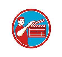 Film Crew Clapperboard Circle Retro Photographic Print