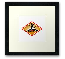 Obstacle Racing Jumping Fire Woodcut Framed Print