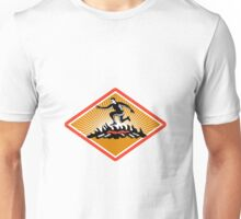 Obstacle Racing Jumping Fire Woodcut Unisex T-Shirt
