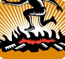 Obstacle Racing Jumping Fire Woodcut Sticker