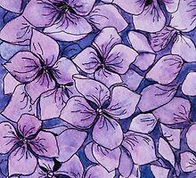 purple watercolor hydrangea by nostiya