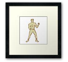 Vintage Boxer Pose Etching Framed Print
