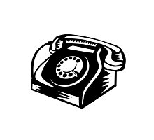 Telephone Vintage Woodcut Photographic Print