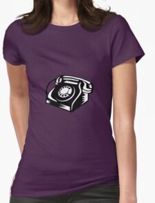 Telephone Vintage Woodcut Womens Fitted T-Shirt