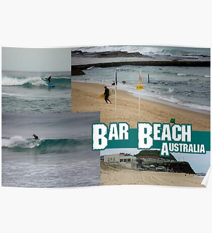 Surfing At Bar Beach Poster