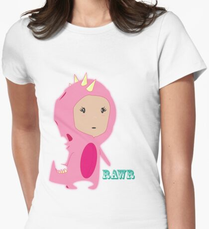 Pinky Rawr Womens Fitted T-Shirt
