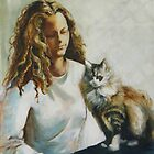 Girl with Cat by Lyn Fabian