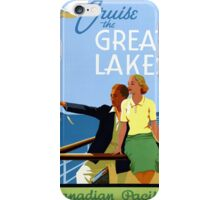 Cruise the Great Lakes Vintage Travel Poster iPhone Case/Skin