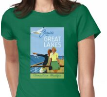 Cruise the Great Lakes Vintage Travel Poster Womens Fitted T-Shirt