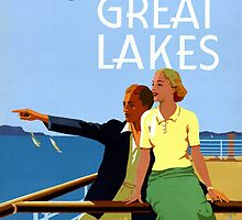 Cruise the Great Lakes Vintage Travel Poster by Carsten Reisinger