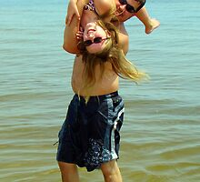 Son and Daughter Playing by Wanda Raines