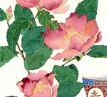 camelias and tea bowl by Gabby Malpas