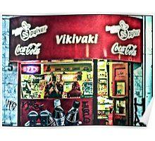Keeping warm inside a hot dog shop on Laugavegur, Reykjavik, Iceland Poster
