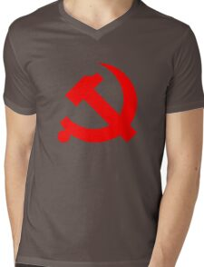 Chinese Communist Party Hammer and Sickle Mens V-Neck T-Shirt