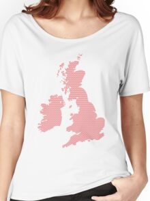 UK map made of red dots. Women's Relaxed Fit T-Shirt