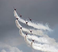 Red Arrows jets flying in formation by steveball