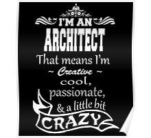 I'M A ARCHITECT THAT MEANS I'M CREATIVE COOL PASSIONATE & A LITTLE BIT CRAZY Poster