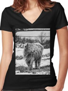 Highland Cow In The Snow 2 Women's Fitted V-Neck T-Shirt