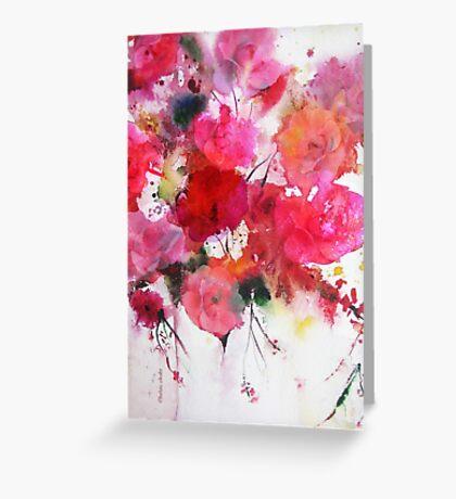 romantic pink roses Greeting Card