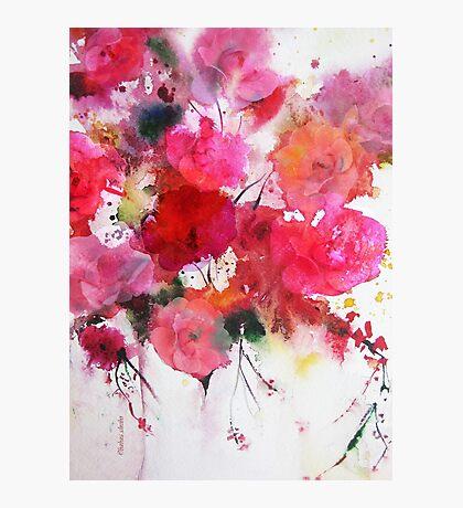 romantic pink roses Photographic Print