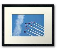Red Arrows jets flying in formation Framed Print