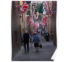 Old couple walking down through streets of Siena during Palio Poster