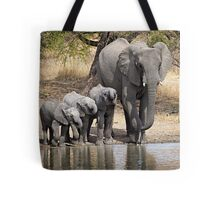 Elephant Mom and Babies Tote Bag