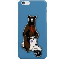 Brown bear with a red tie riding a moped iPhone Case/Skin